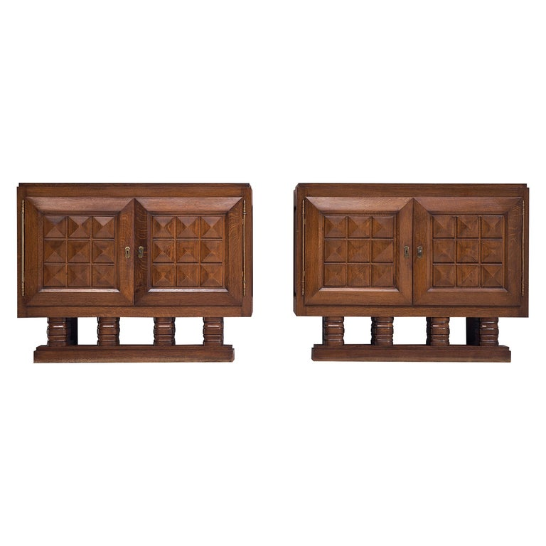 Art Deco Cabinets in Stained Oak For Sale