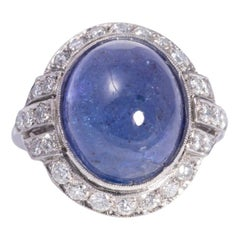 Art Deco Cabochon Blue Sapphire and Diamond Ring
