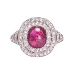 Art Deco Cabochon Burma Ruby Diamond Cluster Ring