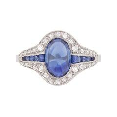 Art Deco Cabochon Cut Sapphire and Diamond Cluster Ring, circa 1920s