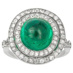 Art Deco Cabochon Emerald and Diamond Cluster Ring