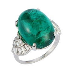 Art Deco Style Cabochon Emerald and Diamond Ring