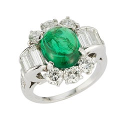 Art Deco Cabochon Emerald & Diamond Ring