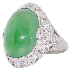 Art Deco Cabochon Jade and Diamond Ring, circa 1920s