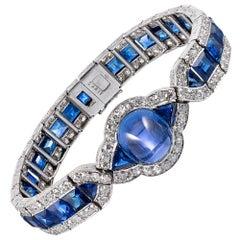 Art Deco Cabochon Sapphire and Diamond Bracelet