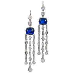 Art Deco Cabochon Sapphire and Diamond Cascade Earrings