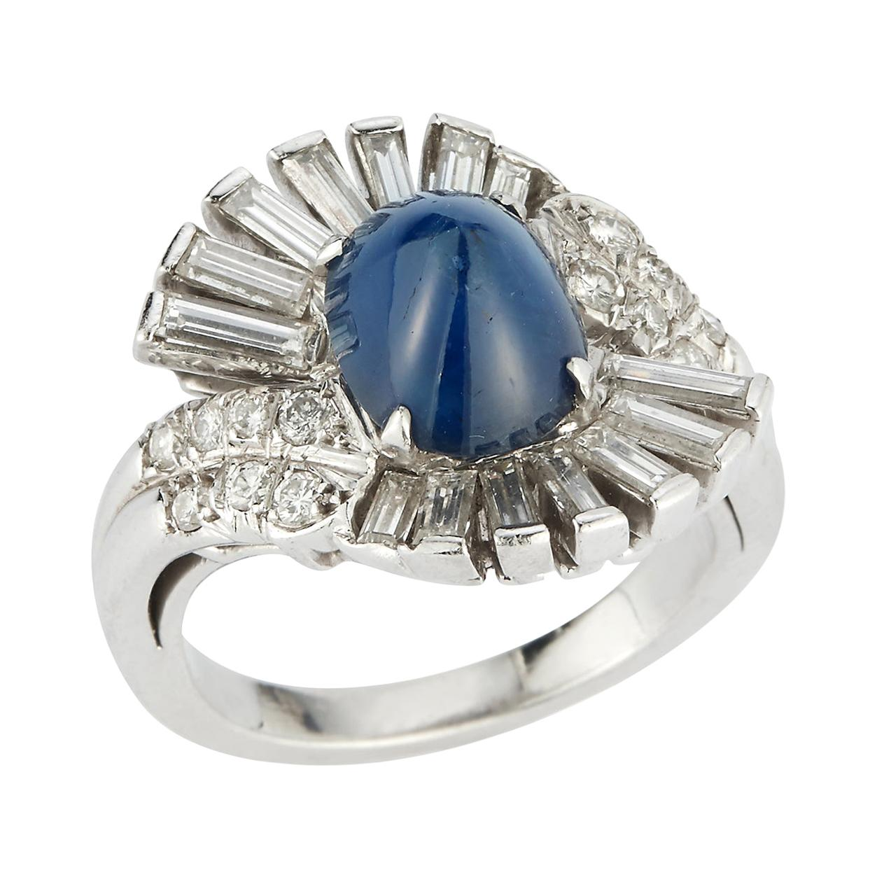 Art Deco Style Cabochon Sapphire & Diamond Cocktail Ring
