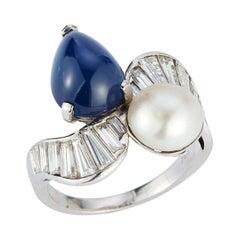 Art Deco Cabochon Sapphire & Pearl Diamond Ring