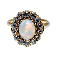 Art Deco Cabochon White Opal and Old European Cut Diamond Ring
