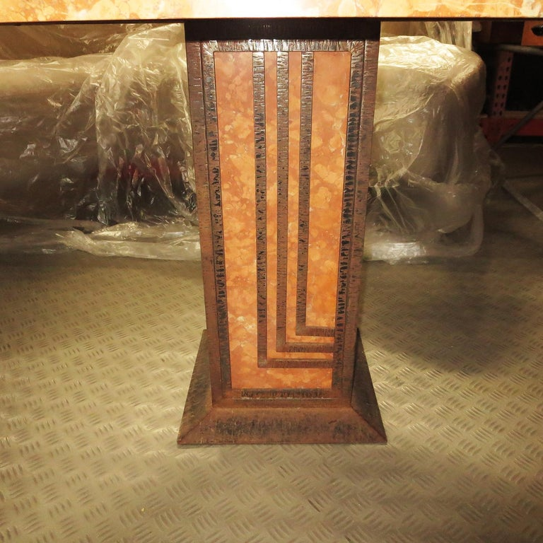 French Art Deco Cafe or Game Table in Marble and Iron For Sale