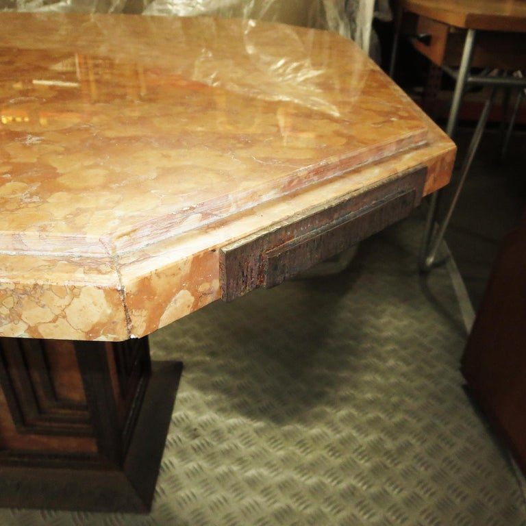 Art Deco Cafe or Game Table in Marble and Iron In Good Condition For Sale In North Hollywood, CA
