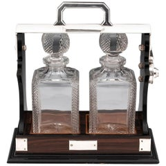 Art Deco Calamander Silver Plated Two-Bottle Decanter Tantalus, 20th Century