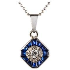Art Deco Calibrated Blue Gems and Diamond Pendant Necklace