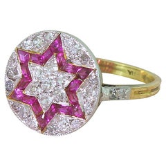Art Deco Calibré Cut Ruby and Old Cut Diamond Star Ring