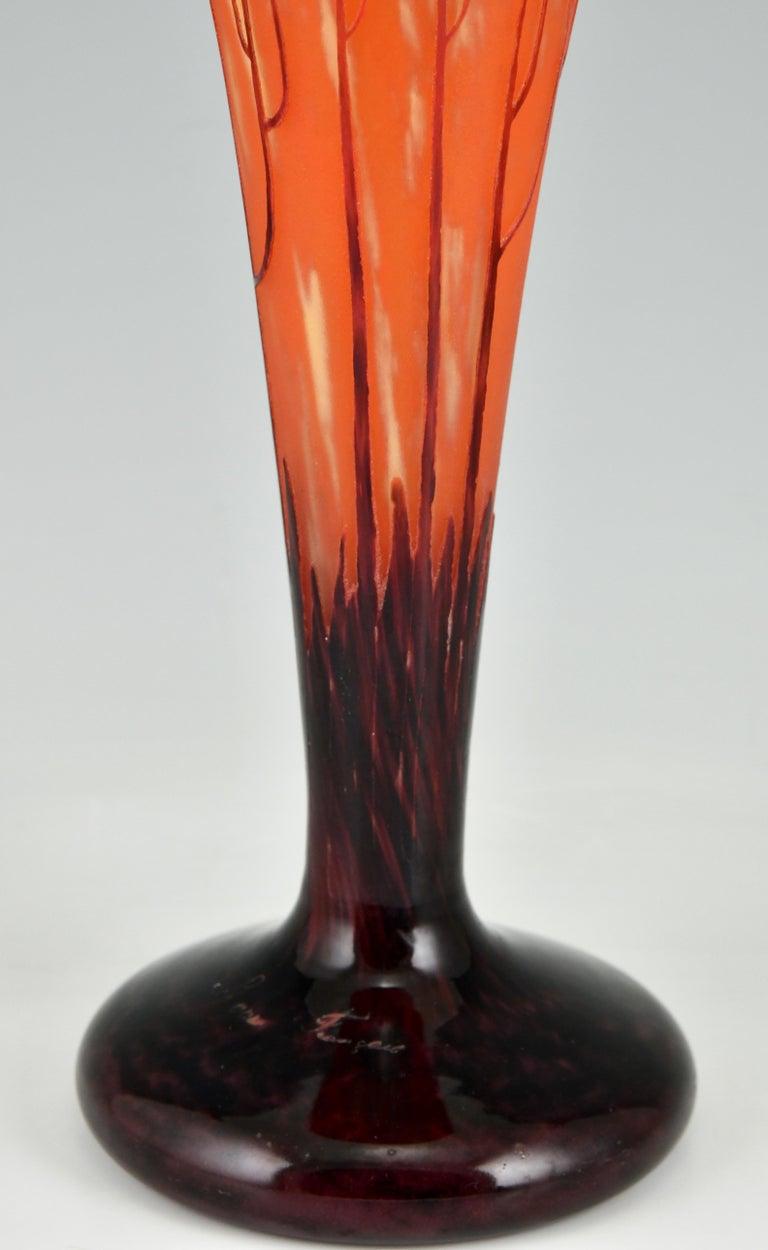 Art Deco Cameo Glass Vase Cardamines Charles Schneider & Le Verre Français 1