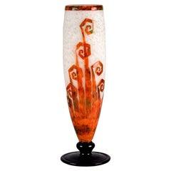 """Art Deco Cameo Glass Vase """"Décor Fougère"""" by Le Verre Francais"""
