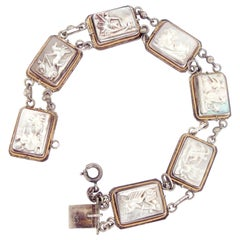 Art Deco Cameo Mother of Pearl Abalone Link Silver Bracelet with Chariots Motif