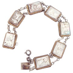 Art Deco Cameo Mother of Pearl Link Silver Bracelet with Chariots Motif