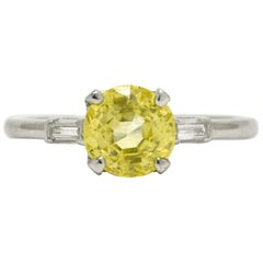 Art Deco Canary Yellow Sapphire Diamond Engagement Ring 2 1/2 Carat Platinum