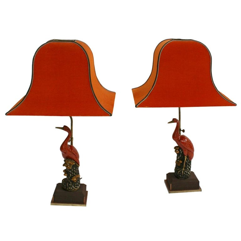 Art Deco Capodimonti Porcelain Pair of Italian Table Lamps For Sale