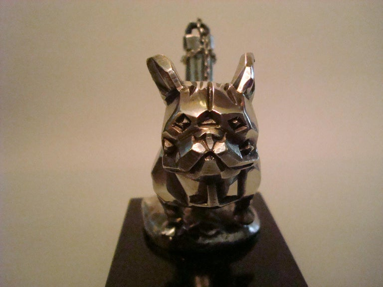 Silvered Art Deco Car Mascot, Chained French Bulldog, Hood Ornament, France 1920s For Sale