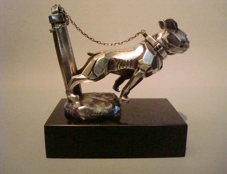 Art Deco Car Mascot, Chained French Bulldog, Hood Ornament, France 1920s For Sale 1