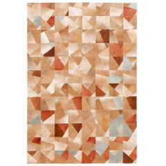 Art Deco Caramel Faceta Customizable Cowhide Area Floor Rug Large