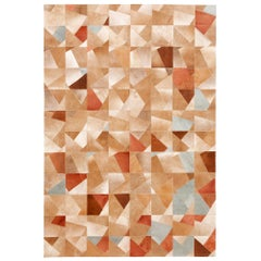 Art Deco Caramel Faceta Customizable Cowhide Area Floor Rug Small