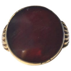 Art Deco Carnelian and 9 Carat Gold Ring
