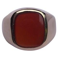 Art Deco Carnelian and 9 Carat Gold Signet Ring