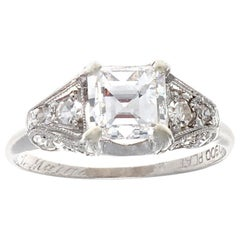 Art Deco Carré Cut Diamond Platinum Engagement Ring