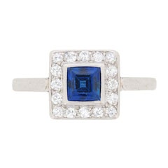 Art Deco Carre Cut Sapphire and Diamond Cluster Ring, circa 1920s
