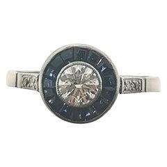 Art Deco Carré Sapphires and 0.45 Diamond Platinum Ring