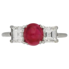 Art Deco Cartier Cabochon Burmese Ruby and Diamond Ring, French, circa 1925