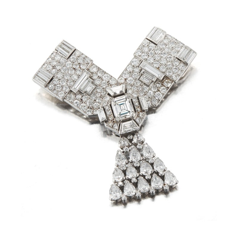 Emerald Cut Art Deco Cartier Diamond Brooch, Convertible into a Necklace For Sale