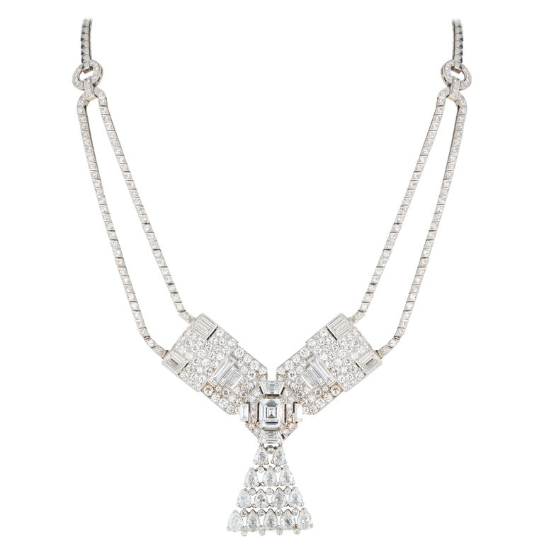 Art Deco Cartier Diamond Brooch, Convertible into a Necklace For Sale