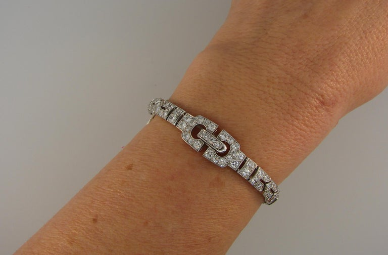 Art Deco CARTIER Diamond Platinum Bracelet For Sale 5