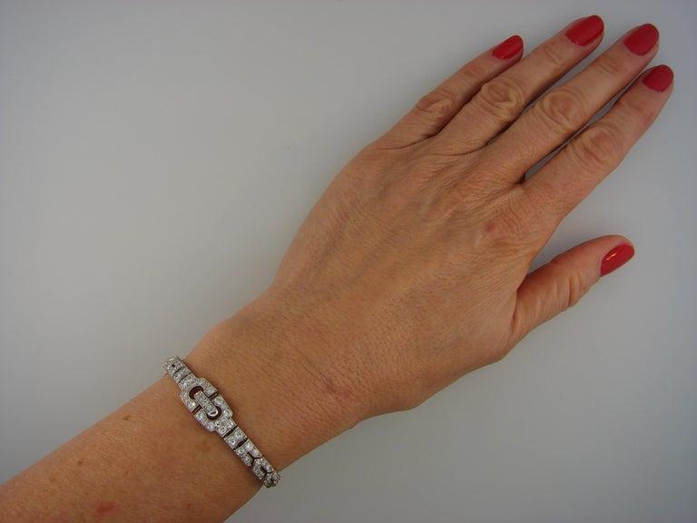 Art Deco CARTIER Diamond Platinum Bracelet For Sale 6