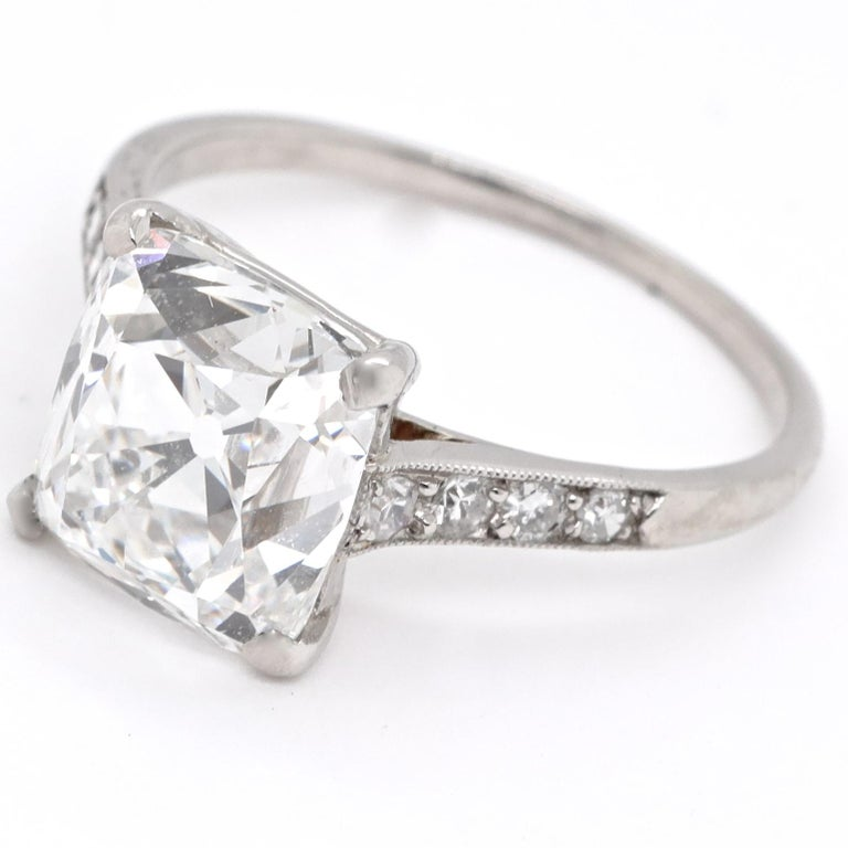 The benefit of buying a signed ring is the outstanding diamond quality and craftsmanship, especially art deco from Cartier. Rest assured it's extremely rare and desirable. GIA certified as 4.02 carat old mine cut diamond, E color VVS2 clarity.