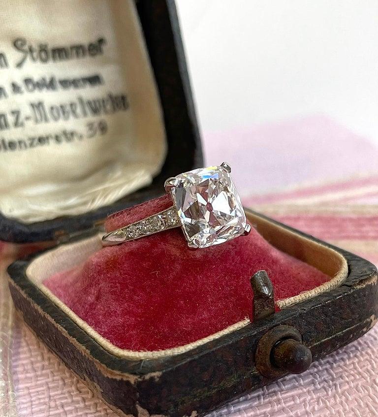 Art Deco Cartier GIA 4.02 Carat Old Mine Cut Diamond Platinum Ring For Sale 1
