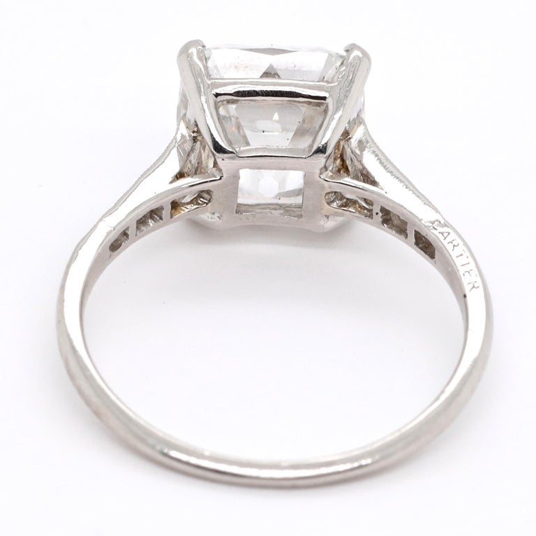 Women's Art Deco Cartier GIA 4.02 Carat Old Mine Cut Diamond Platinum Ring For Sale