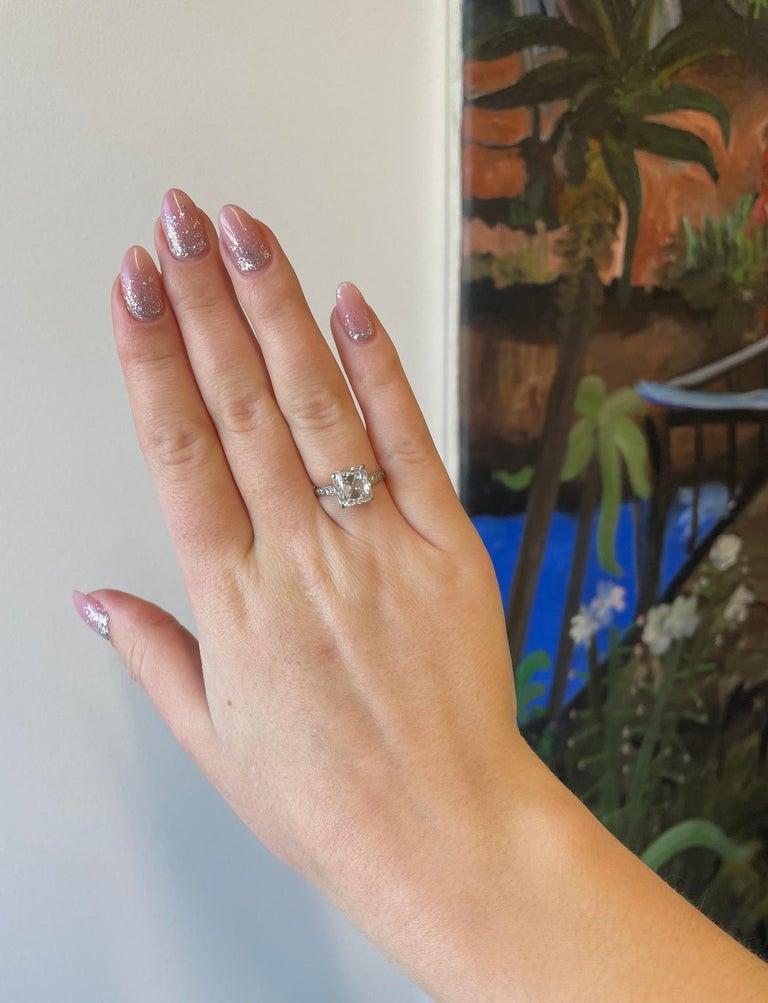 Art Deco Cartier GIA 4.02 Carat Old Mine Cut Diamond Platinum Ring For Sale 2