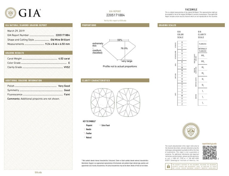 Art Deco Cartier GIA 4.02 Carat Old Mine Cut Diamond Platinum Ring For Sale 3