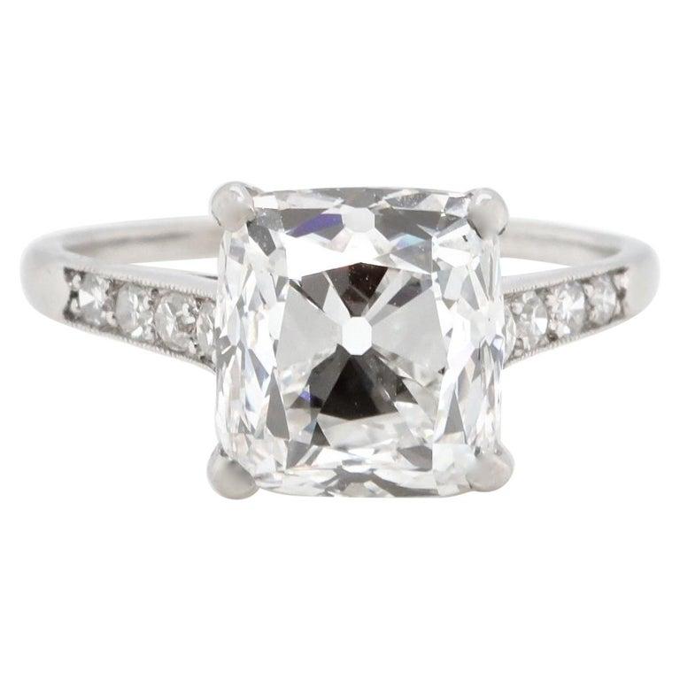 Art Deco Cartier GIA 4.02 Carat Old Mine Cut Diamond Platinum Ring For Sale