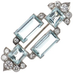 Art Deco Cartier London Aquamarine Diamond Platinum Brooch
