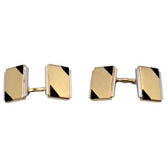 Art Deco Cartier Paris 18 Karat Yellow White Gold Black Enamel Cufflinks