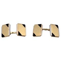 Art Deco Cartier Paris 18 Karat Yellow White Gold Black Enamel Cufflinks