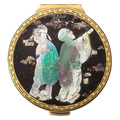 Art Deco Cartier Paris Chinoiserie Lac Burgaute Enamel Gold Pill Box