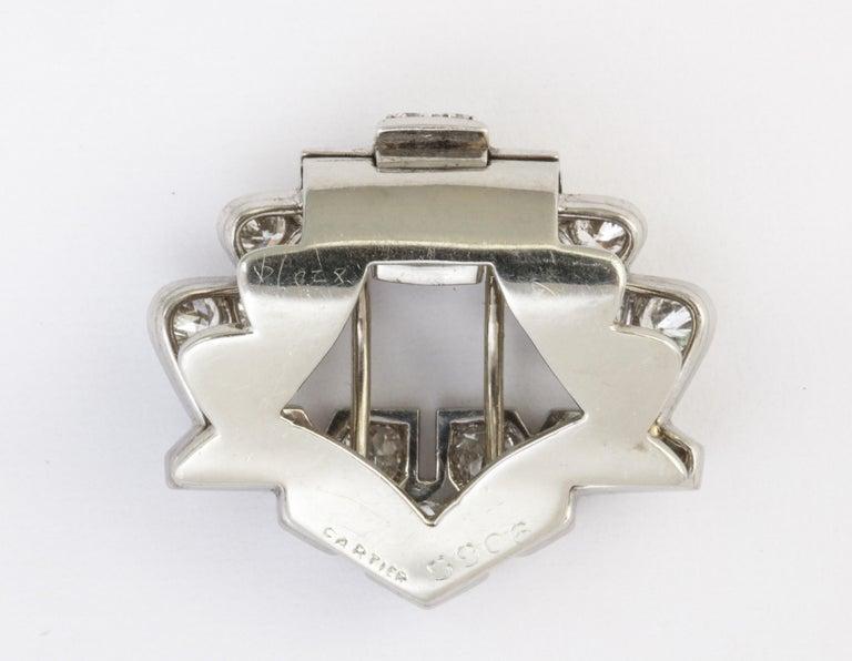Women's or Men's Art Deco Cartier Platinum and Diamond Clip For Sale