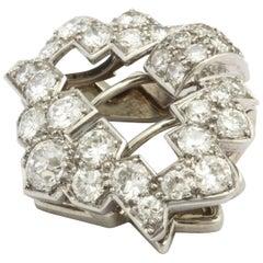 Art Deco Cartier Platinum and Diamond Clip